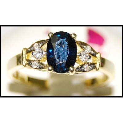 Diamond 18K Yellow Gold Oval Solitaire Blue Sapphire Ring [RS0134]