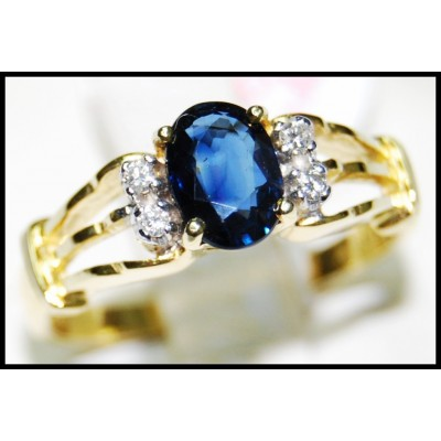 Unique Diamond Solitaire Blue Sapphire Ring 18K Yellow Gold [RS0135]