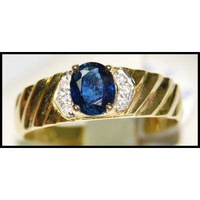 Diamond Oval Solitaire Blue Sapphire Ring 18K Yellow Gold [RS0139]