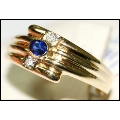 18K Yellow Gold Solitaire Diamond Oval Blue Sapphire Ring [RS0141]