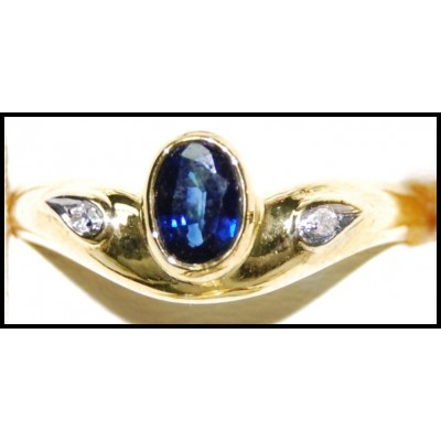 18K Yellow Gold Diamond Natural Solitaire Blue Sapphire Ring [RS0175]