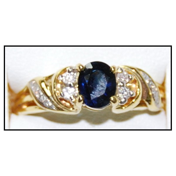 Natural 18K Yellow Gold Diamond Solitaire Blue Sapphire Ring RS0182