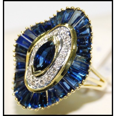 Diamond Wedding Cocktail 18K Yellow Gold Blue Sapphire Ring [RB0003]