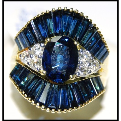 Cocktail Wedding Blue Sapphire Diamond 18K Yellow Gold Ring [RB0004]