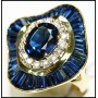 Cocktail Eternity 18K Yellow Gold Diamond Blue Sapphire Ring [RB0008]