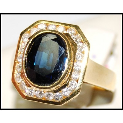Diamond Genuine Cocktail 18K Yellow Gold Blue Sapphire Ring [RB0029]