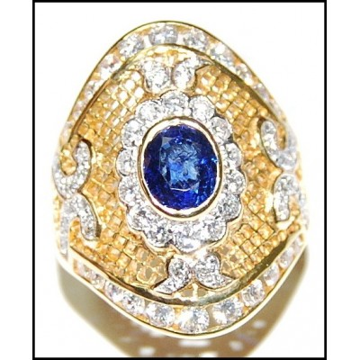 Natural Cocktail 18K Yellow Gold Diamond Blue Sapphire Ring [RF0013]
