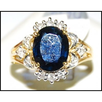 Diamond Wedding Cocktail Blue Sapphire 18K Yellow Gold Ring [RS0154]