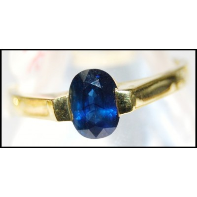 Gemstone Blue Sapphire Unique 18K Yellow Gold Solitaire Ring [RS0055]