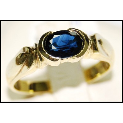 Gemstone Unique Blue Sapphire 18K Yellow Gold Solitaire Ring [RS0061]