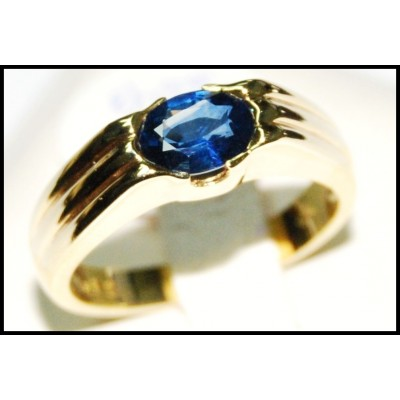 Gemstone 18K Yellow Gold Solitaire Oval Blue Sapphire Ring [RS0118]