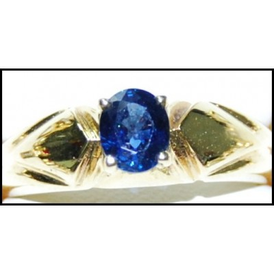 18K Yellow Gold Solitaire Blue Oval Sapphire Gemstone Ring [RS0178]