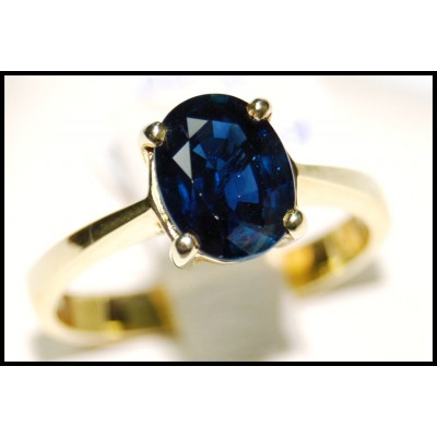 Gemstone Oval Blue Sapphire Solitaire Ring 18K Yellow Gold [RS0209B]