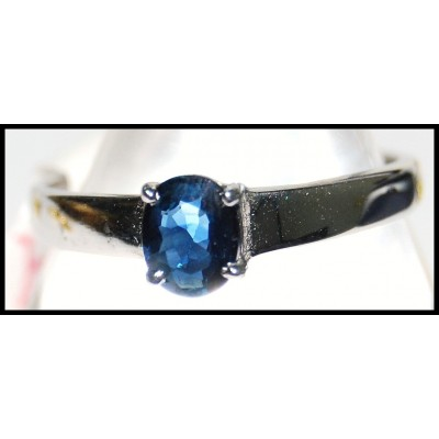 Unique Blue Sapphire Solitaire Gemstone 18K White Gold Ring [RS0053]