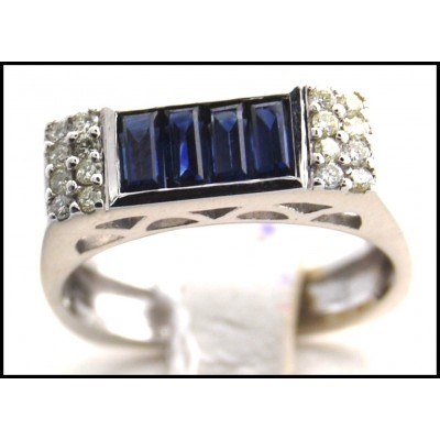 Blue Sapphire Diamond Gemstone Jewelry 18K White Gold Ring [R0004]