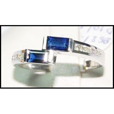 Unique Diamond Gemstone 18K White Gold Blue Sapphire Ring [RQ0037]