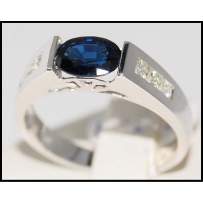 Solitaire Genuine Diamond 18K White Gold Blue Sapphire Ring [R0011]