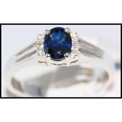 Natural Solitaire Blue Sapphire Diamond 18K White Gold Ring [R0113]