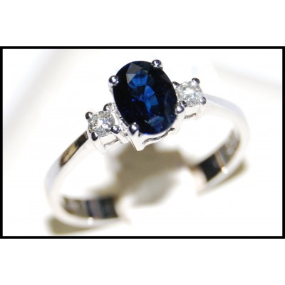 Genuine Diamond Blue Sapphire Solitaire 18K White Gold Ring [RS0002]