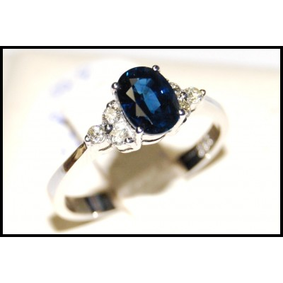 Unique 18K White Gold Solitaire Diamond Blue Sapphire Ring [RS0012]