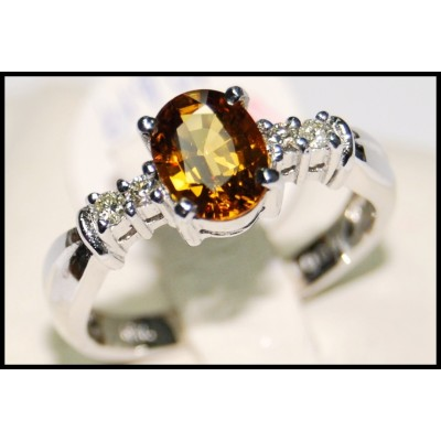 18K White Gold Diamond Solitaire Yellow Sapphire Ring [RS0025]