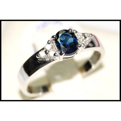 Natural Diamond Solitaire Blue Sapphire 18K White Gold Ring [RS0036]