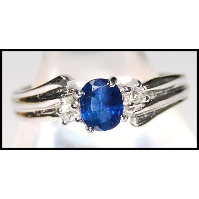 Diamond Genuine Blue Sapphire Solitaire 18K White Gold Ring [RS0100]