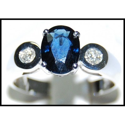 18K White Gold Solitaire Genuine Diamond Blue Sapphire Ring [RS0116]