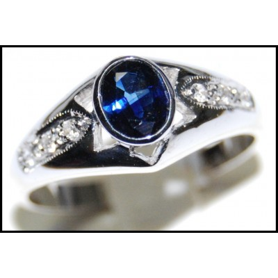 Solitaire Unique 18K White Gold Blue Sapphire Diamond Ring [RS0119]