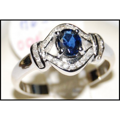 Blue Sapphire Diamond Genuine Solitaire 18K White Gold Ring [RS0127]
