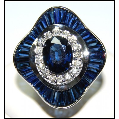 18K White Gold Natural Cocktail Diamond Blue Sapphire Ring [R0135]