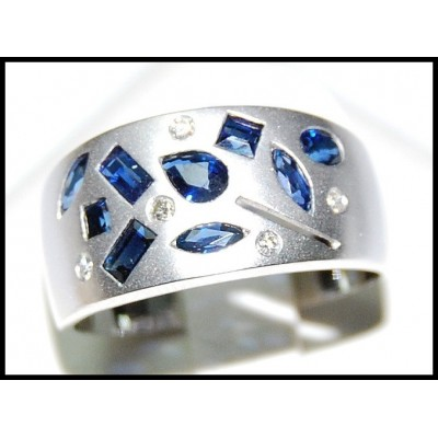 Genuine Diamond Blue Sapphire Cocktail Ring 18K White Gold [RF0004]