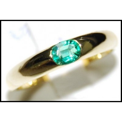 Oval Emerald Gemstone Wedding 18K Yellow Gold Ring [RS0014]