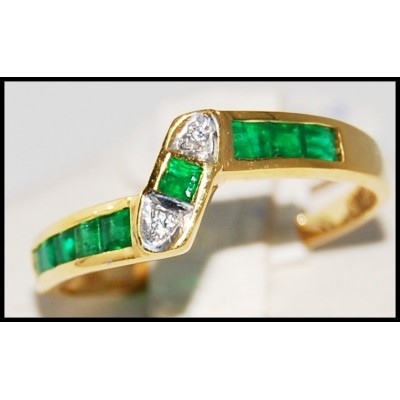 Gemstone Eternity Diamond 18K Yellow Gold Emerald Ring [R0023]