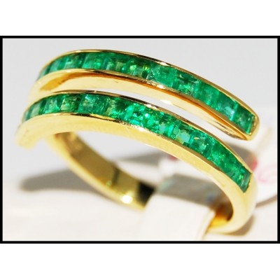 Emerald Wedding Gemstone 18K Yellow Gold Band Ring [R0020]