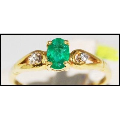 18K Yellow Gold Natural Diamond Solitaire Emerald Ring [R0098]