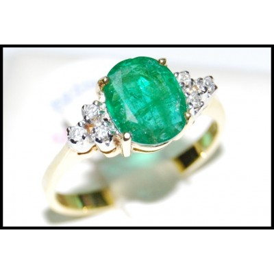 18K Yellow Gold Solitaire Diamond Eternity Emerald Ring [RS0035]