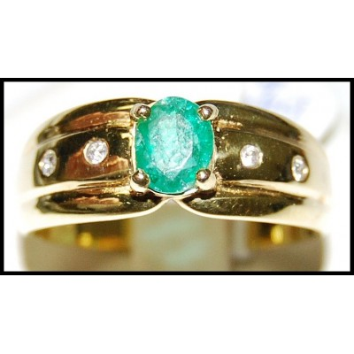 Emerald Jewelry Diamond Solitaire 18K Yellow Gold Ring [RS0113]