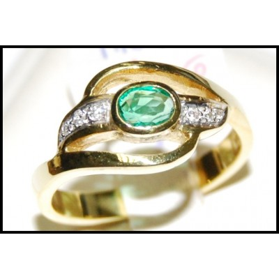 Diamond Jewelry Solitaire 18K Yellow Gold Emerald Ring [RS0131]
