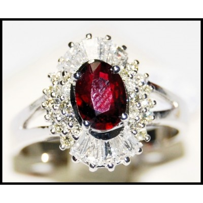 18K White Gold Ruby and Diamond Solitaire Ring [R0137]