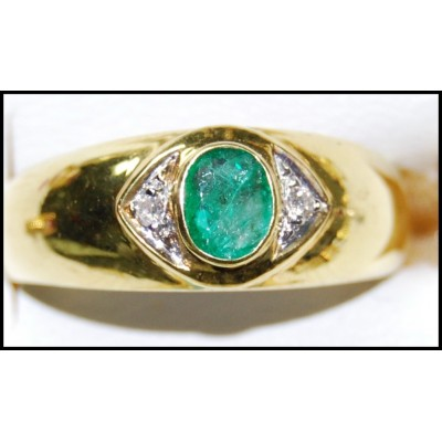 Solitaire Natural Emerald 18K Yellow Gold Diamond Ring [RS0200]
