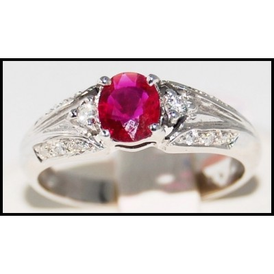 18K White Gold Ruby and Diamond Solitaire Ring [R0012]