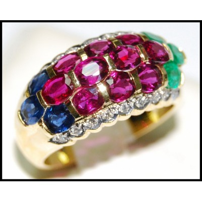 Diamond Jewelry Wedding 18K Yellow Gold Multi Gemstone Ring [R0016]