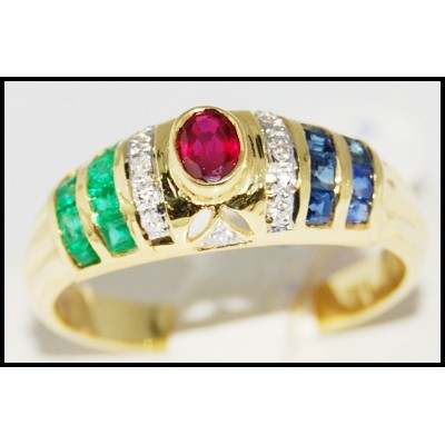 18K Yellow Gold Jewelry Diamond Eternity Multi Gemstone Ring [R0058]