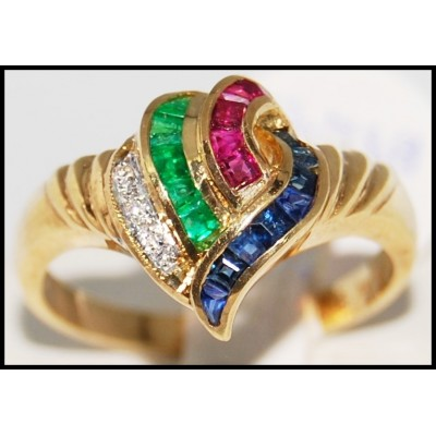 Unique Diamond 18K Yellow Gold Jewelry Multi Gemstone Ring [R0082]