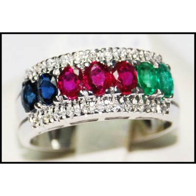 Multi Gemstone Jewelry Eternity 18K White Gold Diamond Ring [R0127]