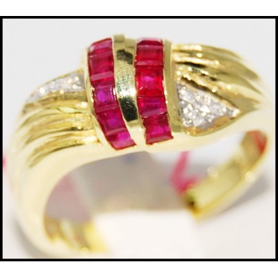 Gemstone Promise Diamond 14K Yellow Gold Ruby Ring [RR026]