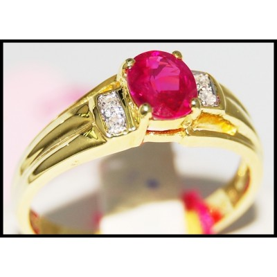 14K Yellow Gold Wedding Solitaire Diamond Ruby Ring [RR064]