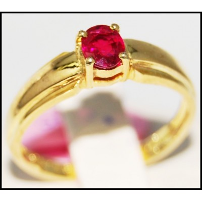 14K Yellow Gold Genuine Ruby Gemstone Solitaire Ring [RR058]
