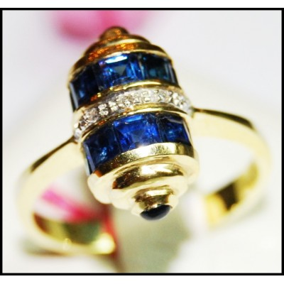 Unique Diamond Gemstone Blue Sapphire Ring 14K Yellow Gold [RR009]